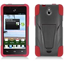 LF Red Black Hybrid case with Stand, Lf Stylus Pen and Wiper For TracFone, StraightTalk, Net 10 Huawei Ascend Plus H881C