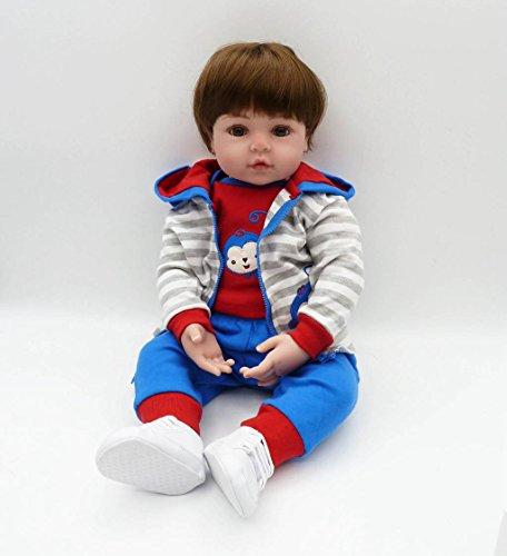 Lifelike Reborn Baby Dolls Silicone Toddler Boys Eyes Open Monkey Patterns Outfit Fibre Hair 24 inch (Eyes Big Monkey)