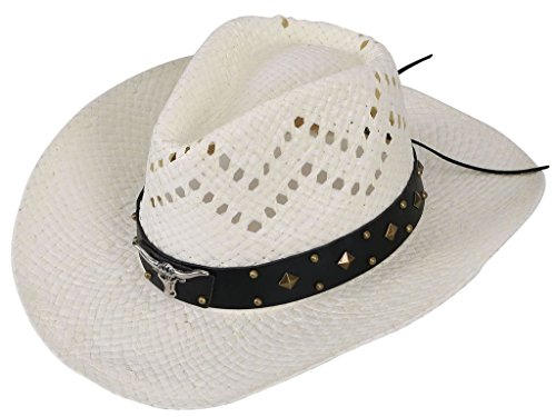 TAUT Unisex Woven Straw Cowboy Ranch Hat with Shapeable Brim Bull_Ivory
