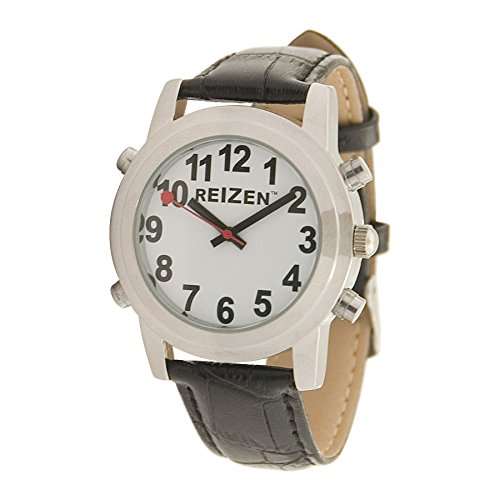 Reizen Talking Watch - White Face - Leather Band - English by Reizen