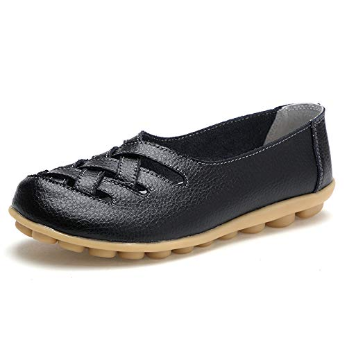 Women's Leather Loafer Casual Flat Shoes Rubber Sole Shoes (8.5 B(M) US, Black)