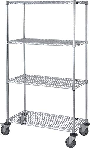 "Quantum Storage Systems M1836C46 4-Tier Wire Shelving Mobile Cart with 5"" Stem Casters, 4 Wire Shelves, Chrome Finish, 69"" Height x 18"" Width x 36"" Length"
