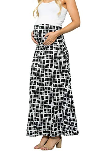 Blk Long Skirt - My Bump Women's High Waisted Floor Length Maternity Maxi Skirt with Tummy Control(Made in USA) (Medium, BLK/WHT Print)
