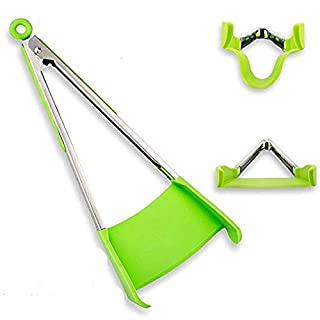 TangoLL Cooking Tongs and Spatula 2 in 1 Kitchen Aid & BBQ Gadget, Non-Stick, Resistant to Heat, Quality 430# Stainless Steel Frame, Food Grade Silicone and Dishwasher Safe (12 inch, green)