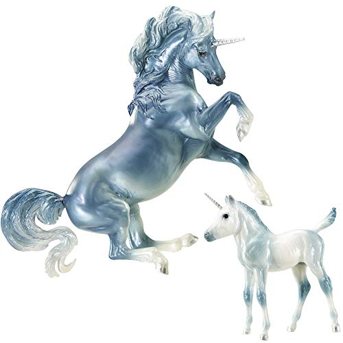 Breyer Traditional Series Cascade and Caspian | 2 Unicorn Set | Horse Toy Models | 1:9 Scale | Model #1818
