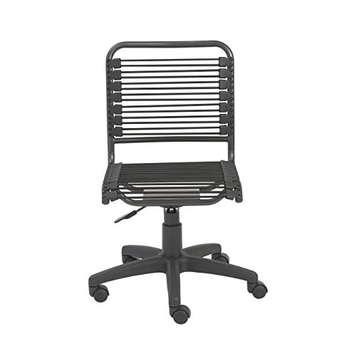 Euro Style Bungie Low Back Adjustable Office Chair, Black Bungies with Graphite Black ()