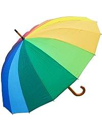 RainStoppers W022 Auto Open 16-Panel Rainbow Umbrella with Wood Hook Handle, 48-Inch