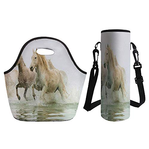 3D Print Neoprene lunch Bag with Kit Neoprene Bottle Cover,Animal Decor,Camargue Horses in the Water Ancient Oldest Breed in Southern France Origin Artful Photo,White Beige,for Adults Kids - Breed Denim Shirt