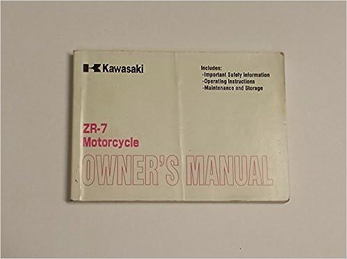 Kawasaki 2000 Zr 7 Motorcycle Owners Manual Zr750 F2 Kawasaki