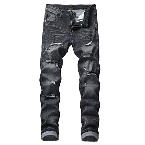 ANJUNIE Men's Casual Straight Hole Jeans Ripped Distressed Denim Trouser Long Pants (9-Black,40)