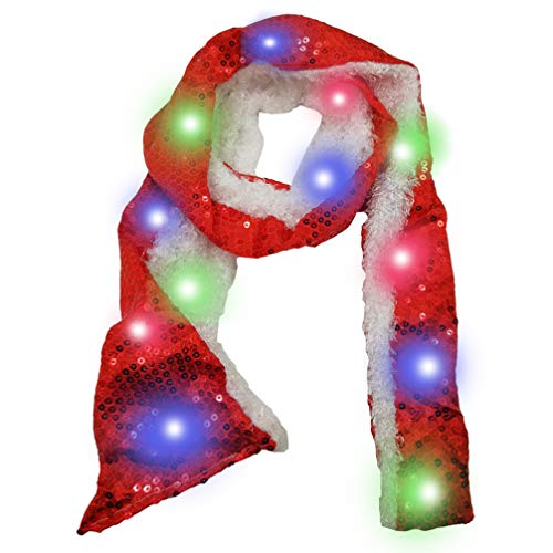 Luwint Colorful LED Flashing Sequin Scarf - Lights Up Rave Clothing Accessories Toys for Halloween Party Costume (Red)