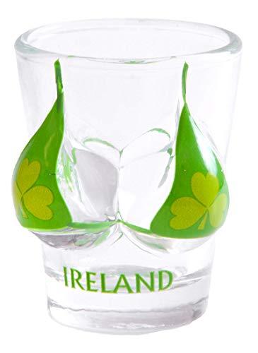 Irish Novelty Souvenir Shot Glass With Green Shamrock Bikini Design