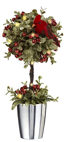 Christmas Topiary - Ganz - Light Up Mistletoe Cardinal Topiary (KK321)