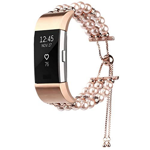 LiboboReplace The Telescopic Jewelry Strap with A Wrist Strap for Fitbit Charge 2 (Rose Gold)