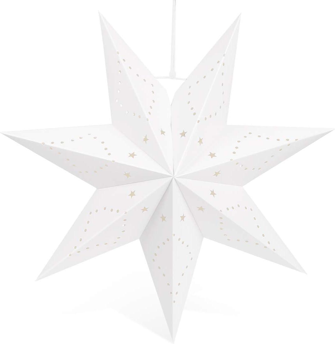 Linternas Papel Estrella Navidad, Estrella Diámetro 45 cm Plegables Ahuecan Colgantes Linternas para Decorativas de Fiesta de Navidad Habitaciones, Cumpleaños y Bodas (Blanco)