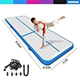 Techip Air Track Inflatable Gymnastics Tumbling Mat Airtrack with Air Pump Training Yoga Cheerleading Mat for Home Use, Beach, Park and Water