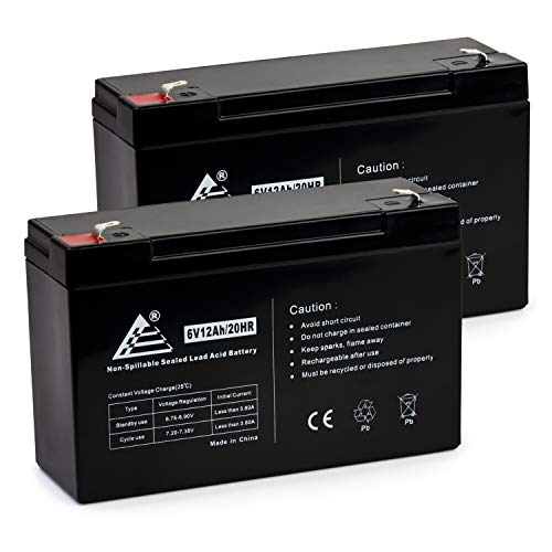 ExpertPower 6V 12Ah SLA Sealed Lead Acid Battery F1 Terminal/Replacement for Portalac GS PE6V13 (2 Pack) ()