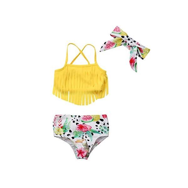 YOUNGER TREE Toddler Baby Girl Swimsuit Dinosaur Tassel Sling Bikini Top+Shorts Bathing Suits Beachwear Summer Clothes