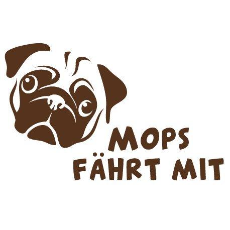 Hunde Aufkleber fü rs Auto individualisierbar, Autoaufkleber Mops on Board - Wunschfarbe, Wunschtext - (19cm x 13cm) - Hunde Sticker - von stick-us stick us