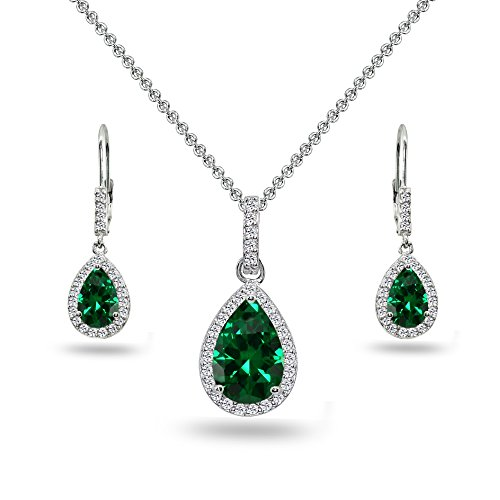 (Sterling Silver Simulated Emerald & White Topaz Teardrop Halo Dangling Necklace & Leverback Earrings)