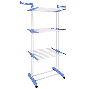 Yescom Rolling Collapsible Clothes Drying Rack 3-Tier Folding Laundry Dryer Hanger Airer Compact Storage Steel