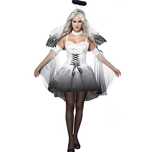 Cosfun Damen Schwarzer Engel Hexe Cosplay Kostum Kleid Karneval