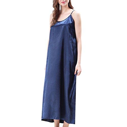 Style Zhhlaixing 5 Dark Colors Silk Long Nightwear CQ351 Comfortable Blue Women's Sleep Skirt q1qOdxr0