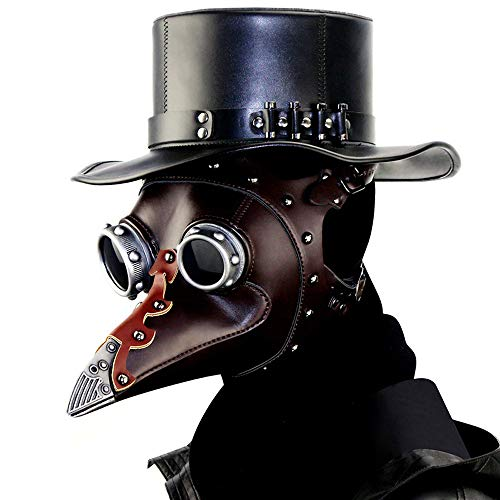 Plague Doctor Mask Bird Beak Mask Long Nose,Steampunk PU Halloween Mask -