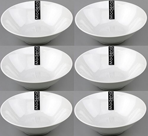 6 x White 7 Inch Coupe Porcelain Dinner Serving Bowls Soup Pasta Salad Side Dish RSW
