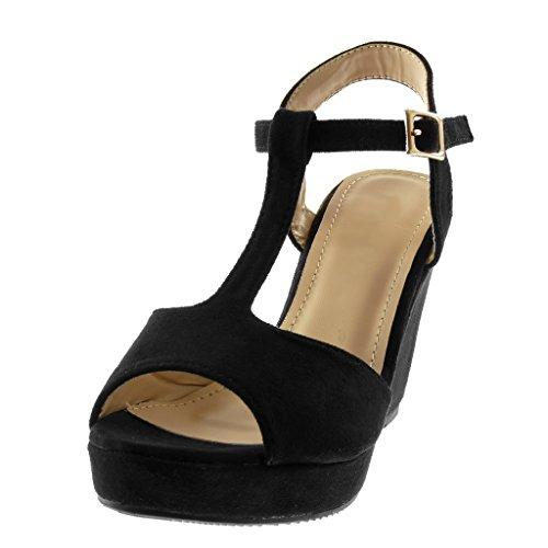 Angkorly Zapatillas Moda Sandalias Mules Correa Peep-Toe Plataforma Mujer Tanga Plataforma 10 cm Negro