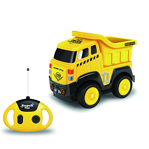 Remote Control Truck, Cartoon RC Dump Truck with Sounds, Radio Control Construction Vehicle Toy for Kids and Toddlers