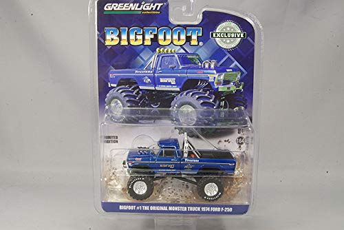 (1974 Ford F-250 Monster Truck Bigfoot #1 Blue The Original Monster Truck (1979) Hobby Exclusive 1/64 Diecast Model Car by Greenlight 29934)