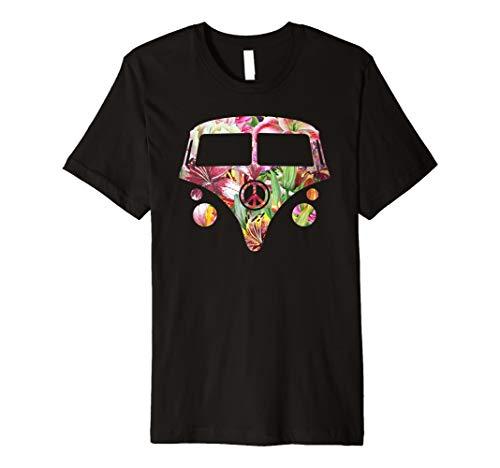 Hippie Camper Hippy Van Floral Garden Flower T-Shirt Gift (Hippy Van)
