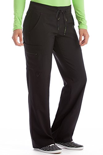 - Med Couture Scrub Pants Women, Yoga Cargo Pocket Scrub Pant,Black, Large