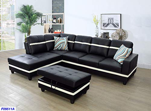 - Beverly Fine Funiture SHPO9511A-3PC Sectional Sofa Set, Black with White Stripe