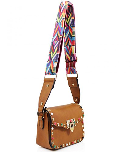 With Leather Faux Studded Multicoloured Cross Navy Small Leahward Strap Bag Body Aztec YO4qqa