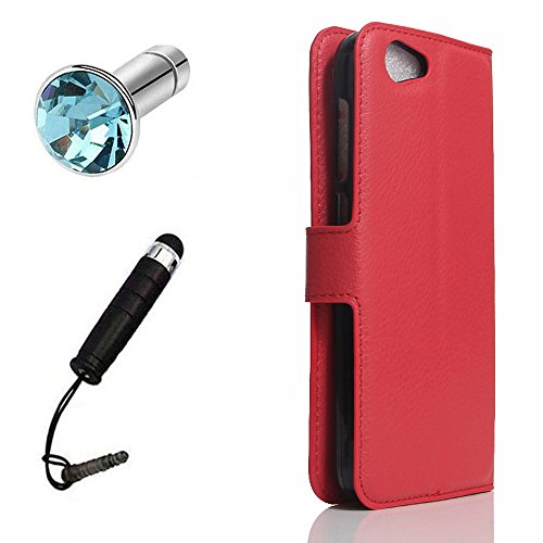 Lusee® PU Caso de cuero sintético Funda para MeiZU Meilan X / M3X / M682Q 5.5 pulgada Cubierta con funda de silicona rojo