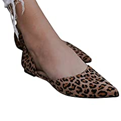 bd12b07697c Misassy Womens Casual Leopard Pointed Toe Flat Shoes Ankle St ..