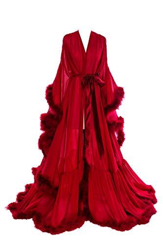 (BBCbridal Women Sexy Feather Long Wedding Scarf Illusion Nightgown Robe Perspective Sheer Bathrobe Sleepwear A Burgundy)