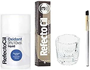 REFECTOCIL COLOR KIT- Natural Brown Cream Hair Dye+ Liquid Oxidant 3% 3.38 oz + Mixing Brush + Mixing Dish