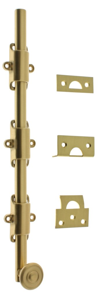 Professional Grade Quality Genuine Solid Brass 18'' Heavy Duty Surface Bolt With Colonial Swirl Knob by idh (Satin Brass)