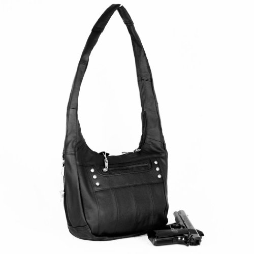 Black Leather Locking Concealment Purse - CCW Concealed Carry Gun Handbag by Roma Leather