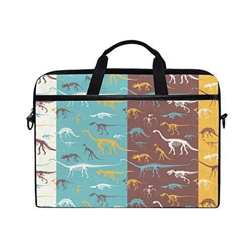 Laptop Bag for Men Women Cute Cartoon Dinosaurs Fossils Skeletons Lighweight Canvas Shoulder Messenger Bag for 14-15 inch Notebook
