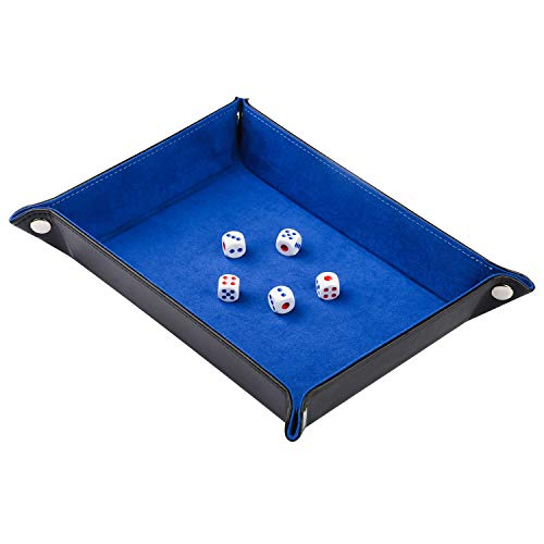 HOMKI Dice Tray of Folding Rectangle PU Leather and Blue