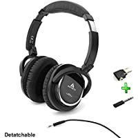 Acoustic Noise Cancelling Headphone,Artiste On-ear Over Ear Noise isolation Airline Headset Headphones (Black-Wired)with Airline Headphone Converter Mic