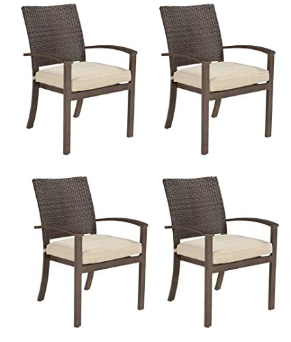 Ashley Furniture Signature Design - Moresdale Outdoor Dining Chair with Cushion - Set of 4 - Woven Wicker - Brown ()