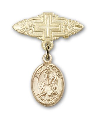 Religious Obsession Gold Filled Baby Badge with St. Andrew the Apostle Charm and Badge Pin with Cross by Religious Obsession