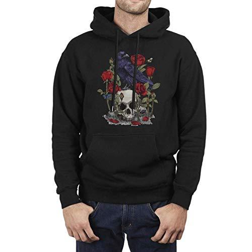 Skull-Design Head Bird Devil Rose Skull Men's Black Hoodie Fleece Unique Long Sleeve]()