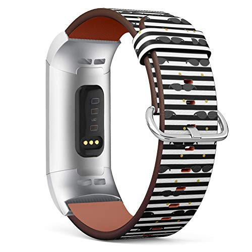 Compatible with Fitbit Charge 3 / Charge 3 SE - Leather Watch Wrist Band Strap Bracelet with Stainless Steel Clasp and Adapters (Mustache Gold Dot ()