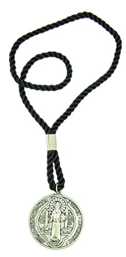 Protection from Evil Pendant Saint Benedict Door Medal on 10 Inch Cord Chain (Knobs Bed Post)